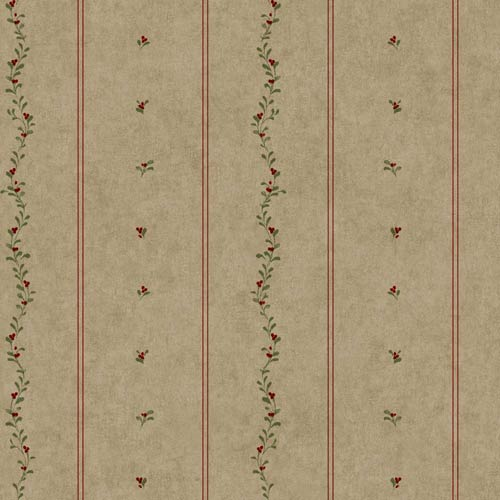 York Wallcoverings Welcome Home Taupe, Barn Red and Olive Green Mini Leaves Stripe Wallpaper: Sample Swatch Only