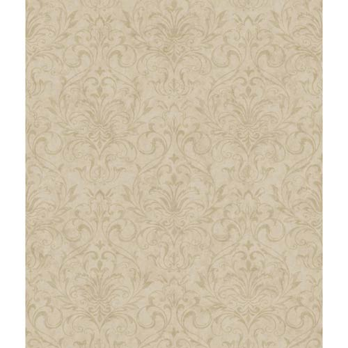 York Wallcoverings Welcome Home Beige and Light Taupe Distressed Damask Wallpaper: Sample Swatch Only
