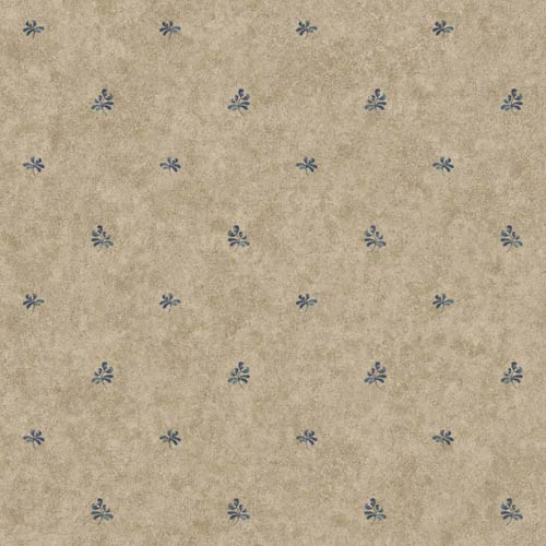 York Wallcoverings Welcome Home Light Medium Taupe and Country Blue Pottery Geometric Spot Wallpaper: Sample Swatch Only
