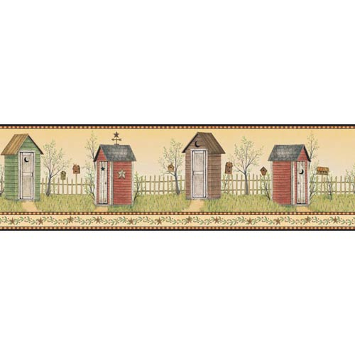 York Wallcoverings Welcome Home Sunshine Yellow, Green, Red Orange, Charcoal, Camel Tan and Cocoa Brown Country Outhouse
