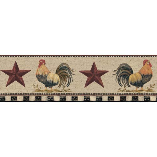 York Wallcoverings Welcome Home Beige, Black, Barn Red, Bright Red, Yellow, Orange and Yellow Green Rooster Border Wallpaper: