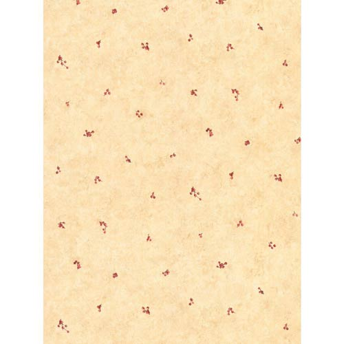 York Wallcoverings Welcome Home Peachy Beige, Ruby Red and Brown Mini Berry Spot Wallpaper: Sample Swatch Only