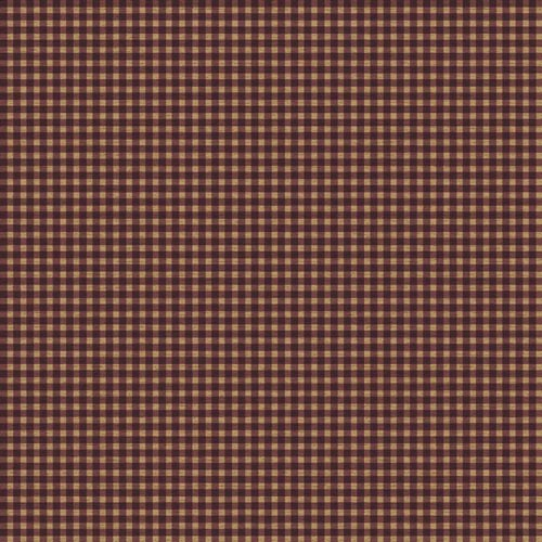 York Wallcoverings Welcome Home Cranberry Red, Medium Red and Distressed Parchment Tan Gingham Wallpaper: Sample Swatch Only