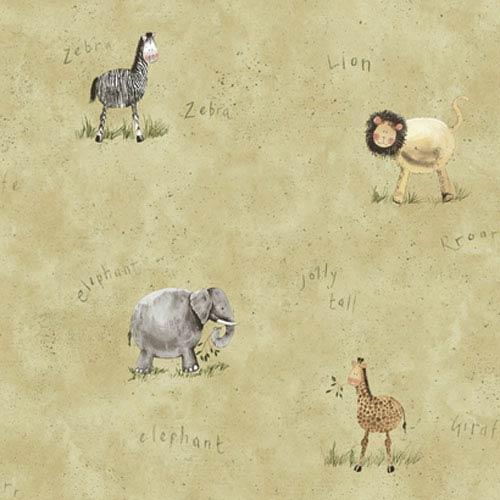 York Wallcoverings York Kids Light Green Background IV Safari Wallpaper: Sample Swatch Only