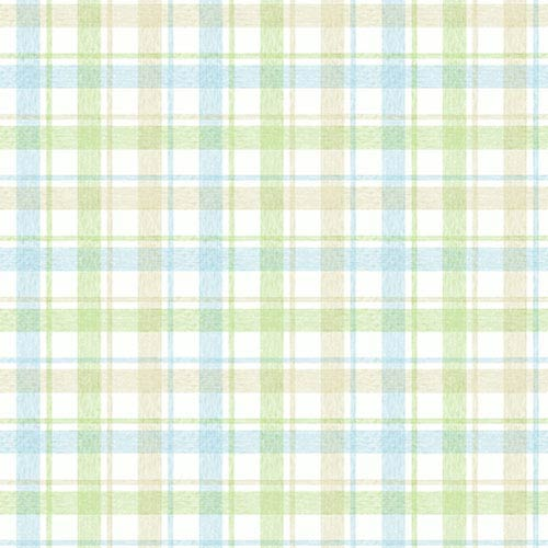 York Wallcoverings York Kids Pastel and Green and Blue IV Woven Plaid Wallpaper