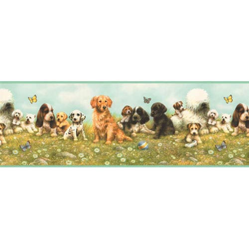 York Wallcoverings York Kids Multi-Colored IV Puppy Border: Sample Swatch Only