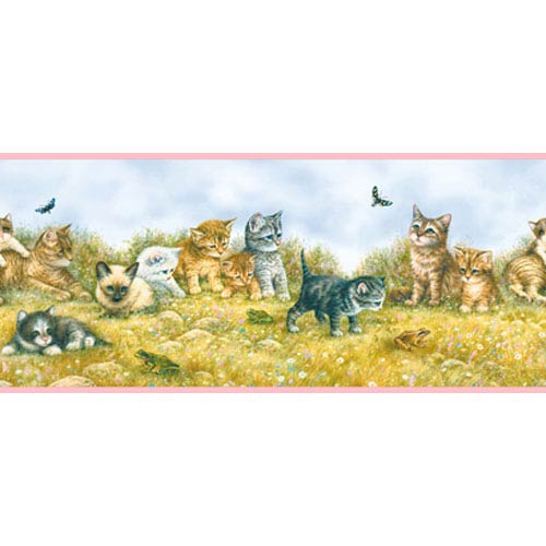 York Wallcoverings York Kids Multi and Pink Band IV Kitten Border: Sample Swatch Only