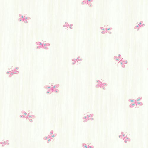 York Wallcoverings York Kids White Background and Pink IV Butterfly Wallpaper: Sample Swatch Only