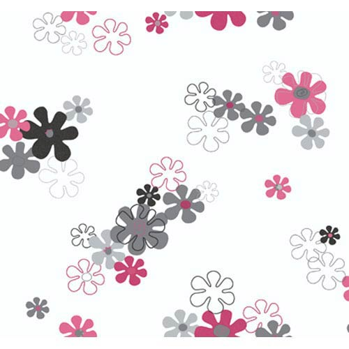 York Wallcoverings York Kids Pink and Silver IV Flower Power Wallpaper: Sample Swatch Only