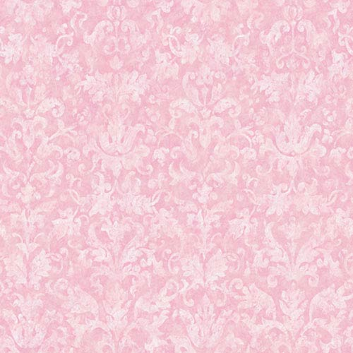 York Wallcoverings York Kids Pinks IV Distressed Damask Wallpaper: Sample Swatch Only