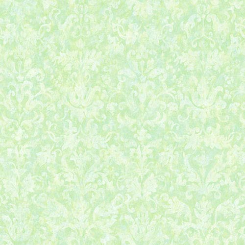York Wallcoverings York Kids Light Green IV Distressed Damask Wallpaper: Sample Swatch Only