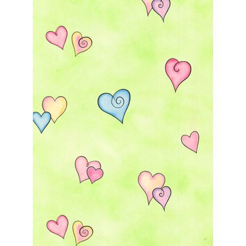 York Wallcoverings York Kids Mint Green Background and Pink and Blue IV Heart Wallpaper: Sample Swatch Only