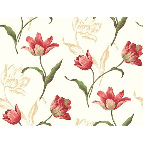 York Wallcoverings Inspired by Color Off White Tulip Wallpaper: Sample Swatch Only