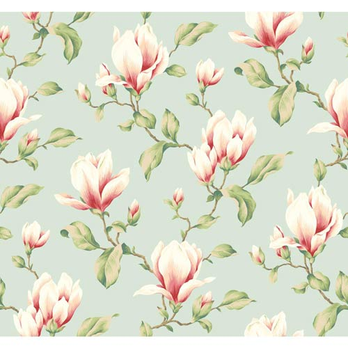 Inspired by Color Blue 3-Inch Wide Stripe Magnolia Branch Wallpaper: Sample Swatch Only