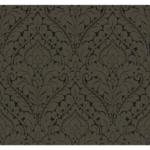 York Wallcoverings Stockbridge Square Matte Black and Antique Bronze Silken Damask Wallpaper: Sample Swatch Only