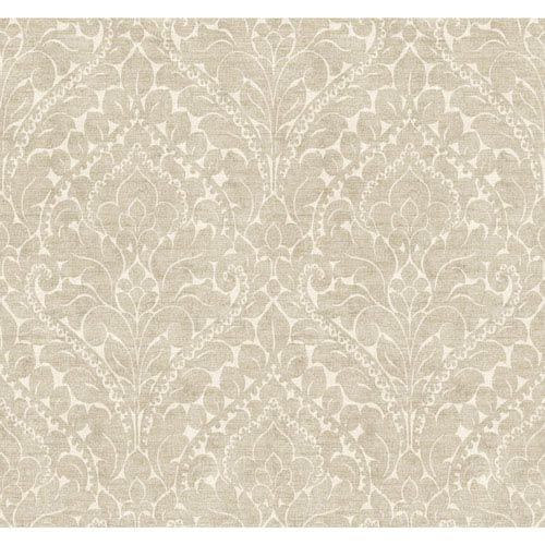 York Wallcoverings Stockbridge Square Chalk White and Gold Silken Damask Wallpaper: Sample Swatch Only