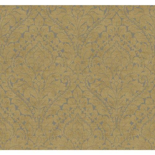 York Wallcoverings Stockbridge Square Wheat and Silver Silken Damask Wallpaper: Sample Swatch Only