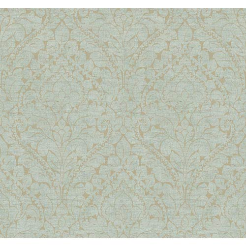 York Wallcoverings Stockbridge Square Aqua and Soft Gold Silken Damask Wallpaper: Sample Swatch Only