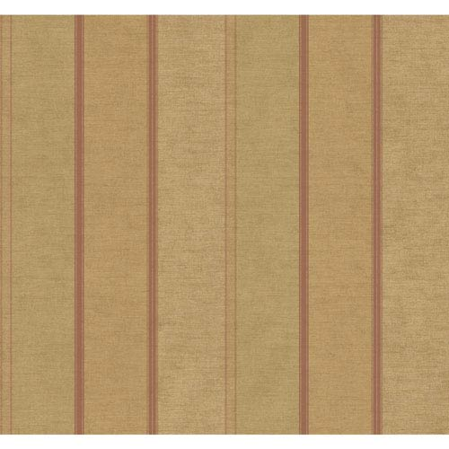 Stockbridge Square Gold and Coral Townsend Stripe Wallpaper: Sample Swatch Only