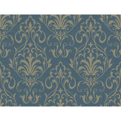 York Wallcoverings Stockbridge Square Teal and Pale Gold French Damask Wallpaper: Sample Swatch Only