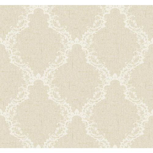 York Wallcoverings Stockbridge Square Pearl White and Taupe Arch Frame Wallpaper: Sample Swatch Only