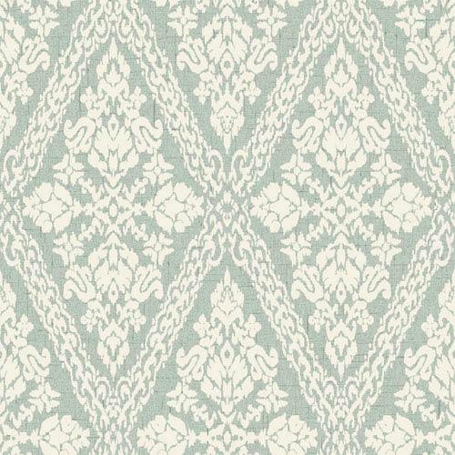 York Wallcoverings Stockbridge Square White and Aqua Harlequin Damask Wallpaper: Sample Swatch Only