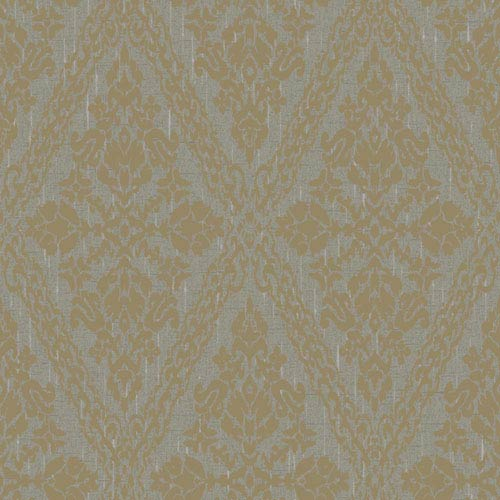 York Wallcoverings Stockbridge Square Grey and Gold Harlequin Damask Wallpaper: Sample Swatch Only