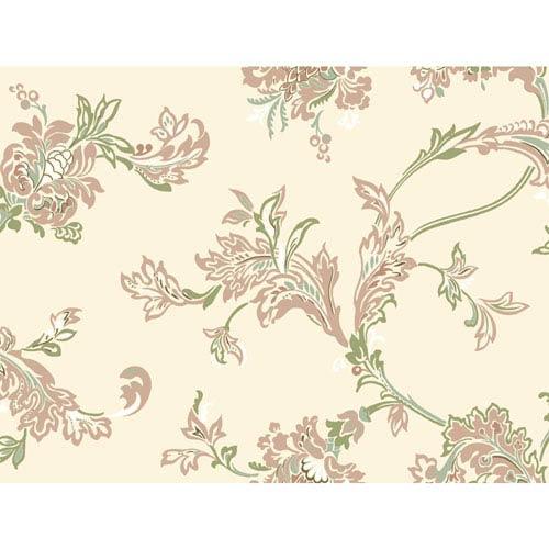 York Wallcoverings Stockbridge Square Cream Jacobean Wallpaper Sample Swatch Only