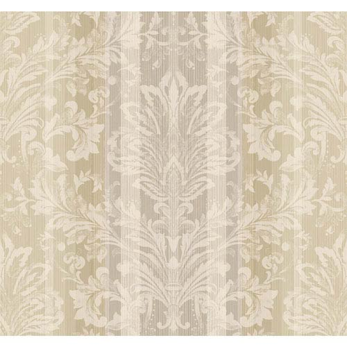 York Wallcoverings Stockbridge Square Cream and Beige Striped Damask Wallpaper: Sample Swatch Only