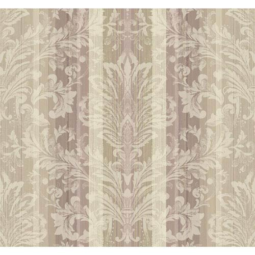 Stockbridge Square Lilac and Cream Striped Damask Wallpaper: Sample Swatch Only