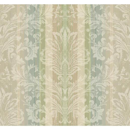 York Wallcoverings Stockbridge Square Pastel Rose and Pale Blue Striped Damask Wallpaper: Sample Swatch Only