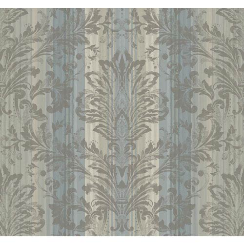 York Wallcoverings Stockbridge Square Grey Blue and Taupe Striped Damask Wallpaper: Sample Swatch Only