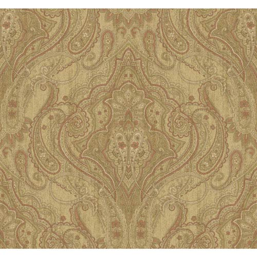 York Wallcoverings Stockbridge Square Sand and Wheat Wynfield Paisley Wallpaper: Sample Swatch Only