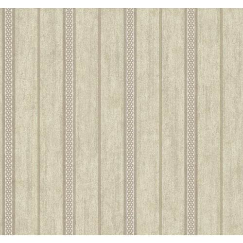 York Wallcoverings Stockbridge Square Beige and Taupe Rope Stripe Wallpaper: Sample Swatch Only