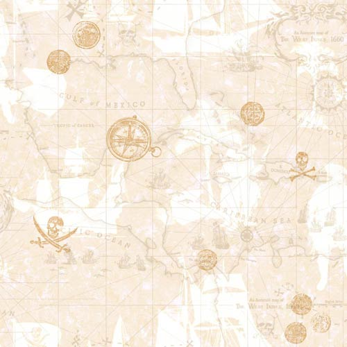 York Wallcoverings Boys Will be Boys Sand Beige, Taupe, Dove Gray and Gold Pirate Map Wallpaper: Sample Swatch Only
