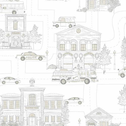York Wallcoverings Inspired by Color Off White and Steel Gray Wallpaper: Sample Swatch Only