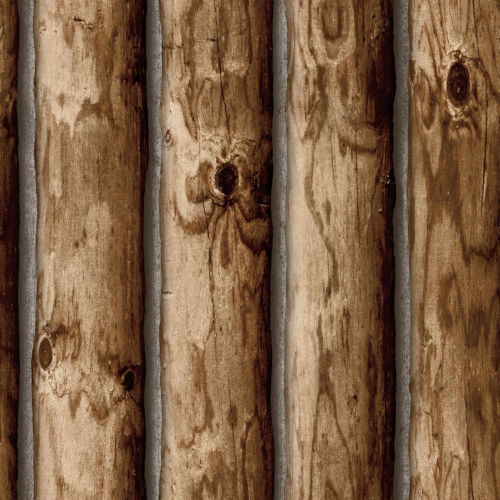 Brown Cabin Logs Peel and Stick Wallpaper-SAMPLE SWATCH ONLY
