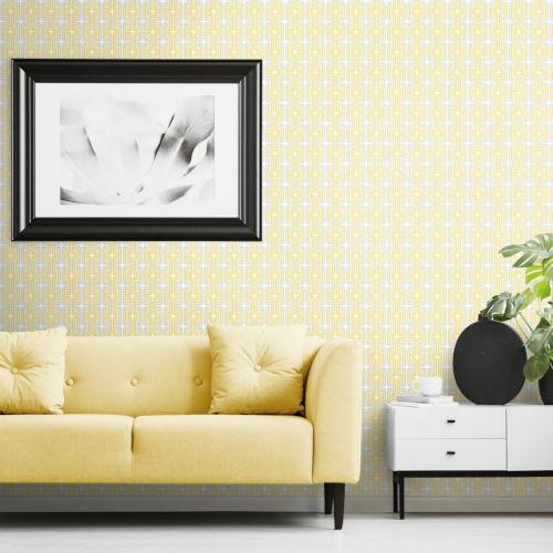 Yellow Mod Lattice Peel and Stick Wallpaper