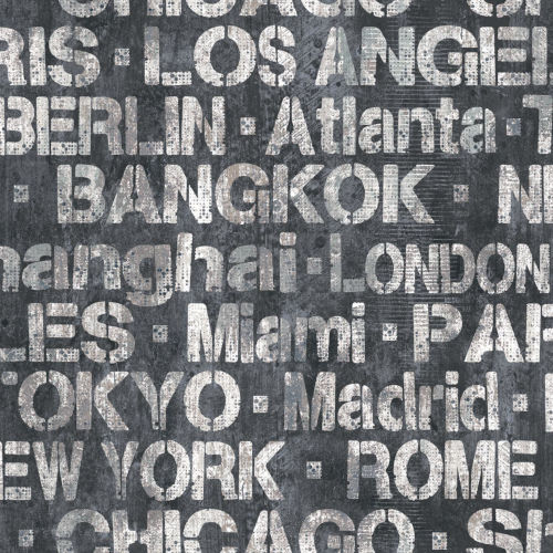 Black and White Cities of the World Peel and Stick Wallpaper-SAMPLE SWATCH ONLY