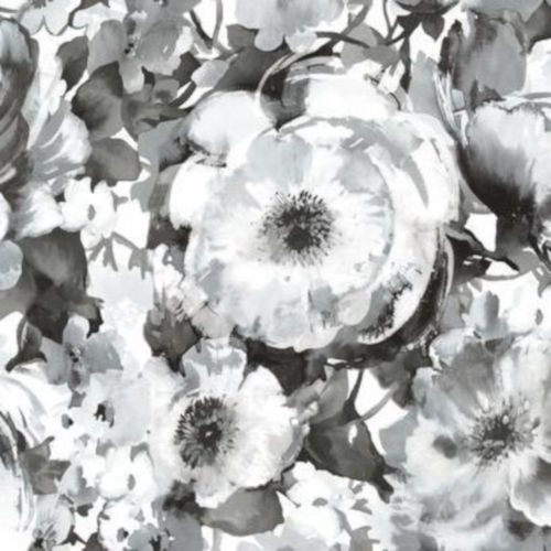 Black and White Floral Peel and Stick Wallpaper-SAMPLE SWATCH ONLY