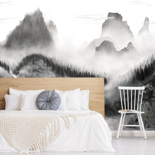 Black and White Majestic Mountains Peel and Stick Mural