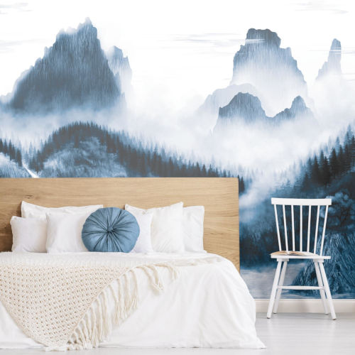 Navy and White Majestic Mountains Peel and Stick Mural
