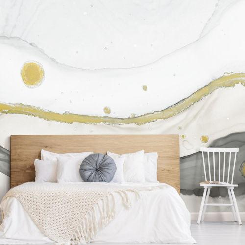 Splendor Art Gallery Gray and Gold Sea Foam Peel and Stick Mural