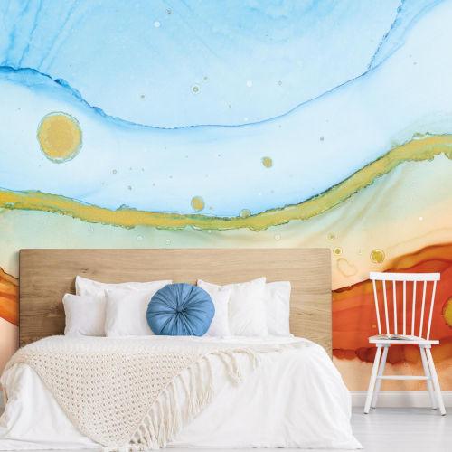 Splendor Art Gallery Blue and Orange Sea Foam Peel and Stick Mural