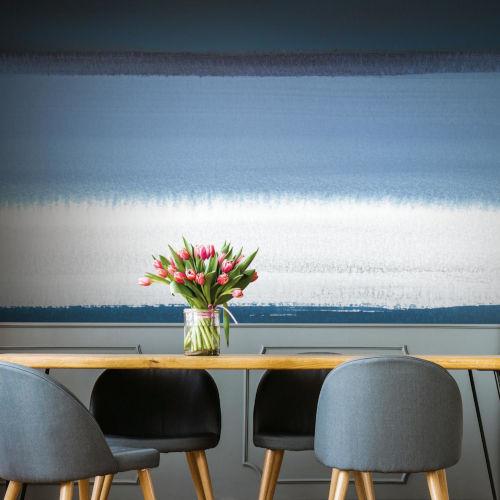 Splendor Art Gallery Blue and White Watercolor Horizon Peel and Stick Mural