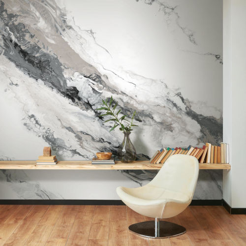 Splendor Art Gallery Gray and White Cystal Geode Peel and Stick Mural