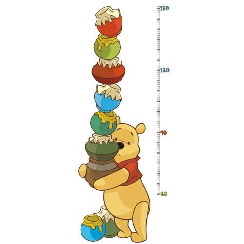 Roommates Decor Popular Characters Multicolor Pooh and Friends Peel and Stick Metric Growth Chart Wall Decals