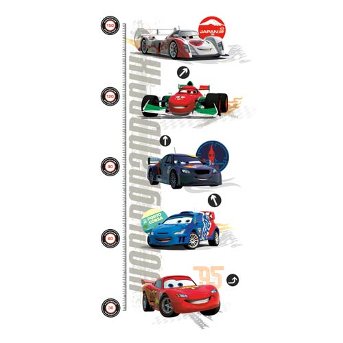 Popular Characters Multicolor Cars 2 Peel and Stick Metric Growth Chart Wall Decal