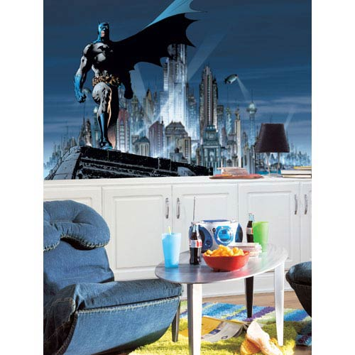Batman Chair Rail Prepasted Mural 6 Ft. x 10.5 Ft. - Ultra-strippable