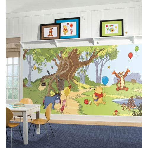 Pooh and Friends Chair Rail Prepasted Mural 6 Ft. x 10.5 Ft. - Ultra-strippable
